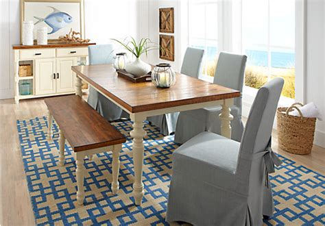 Hillside Cottage White 5 Pc Dining Room With Blue Chairs