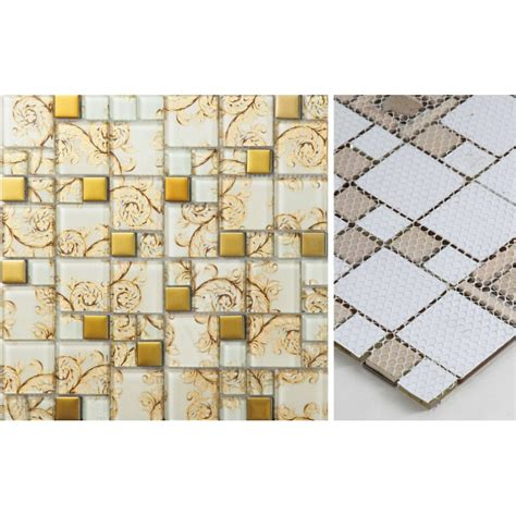 kitchen mosaic tiles beige glass mosaic tile painted gold plated 2324