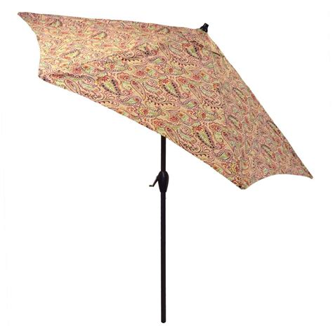 plantation patterns 9 ft aluminum patio umbrella in chili
