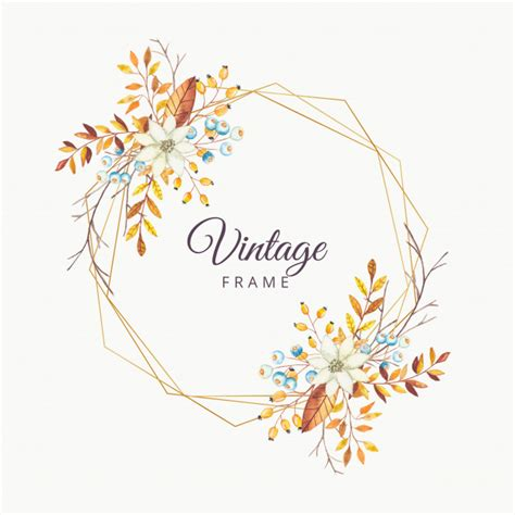 Watercolor floral autumn vintage frame with gold border