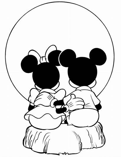 Coloring Mickey Mouse Minnie Pages Sunset Silhouette