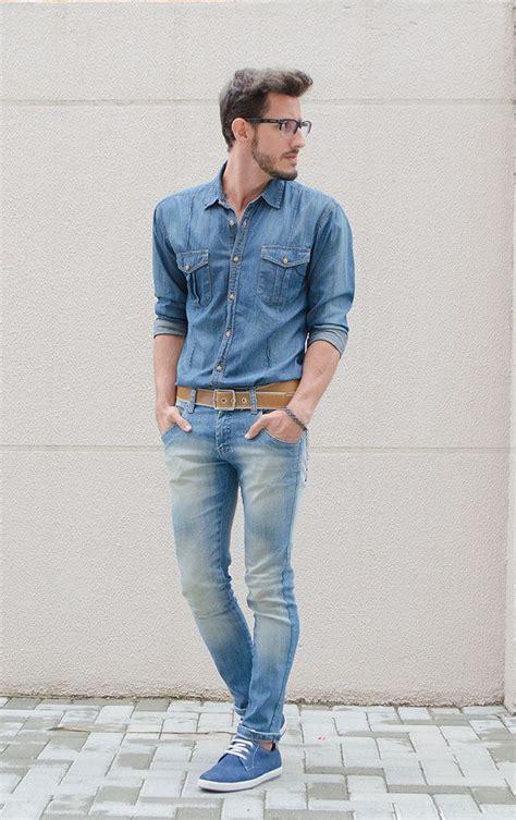 Menu0026#39;s Blue Denim Shirt Light Blue Skinny Jeans Blue ...