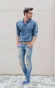 Menu0026#39;s Blue Denim Shirt Light Blue Skinny Jeans Blue Suede Derby Shoes Tan Leather Belt   Tan ...