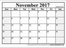 November 2017 Calendar PDF printable calendar monthly