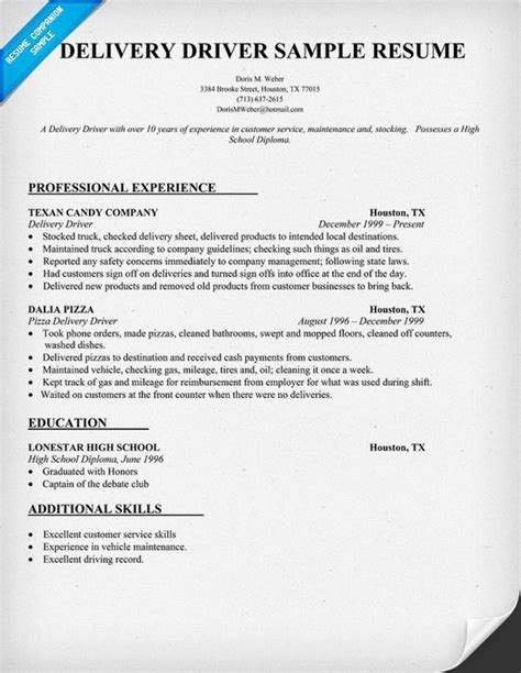 Delivery Driver Resume by Delivery Driver Resume Sle Delivery Stores
