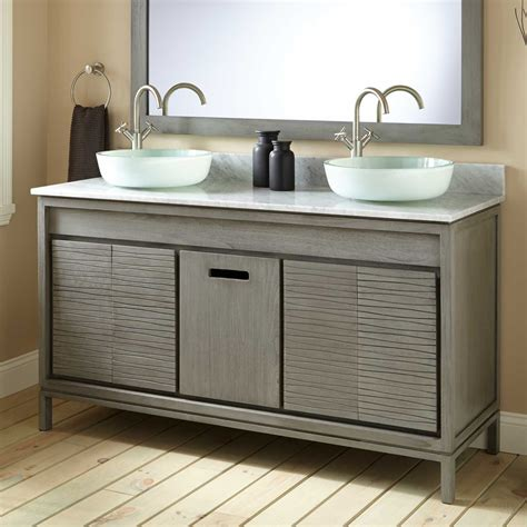 60 Becker Teak Vessel Sink Vanity Gray Wash Vessel