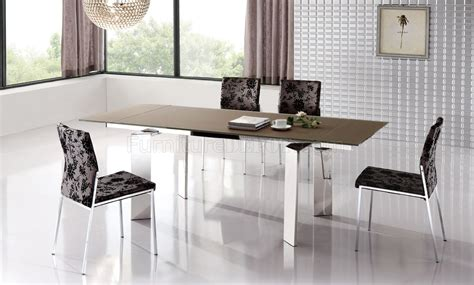 brown stain scratch resistant glass top modern dining table