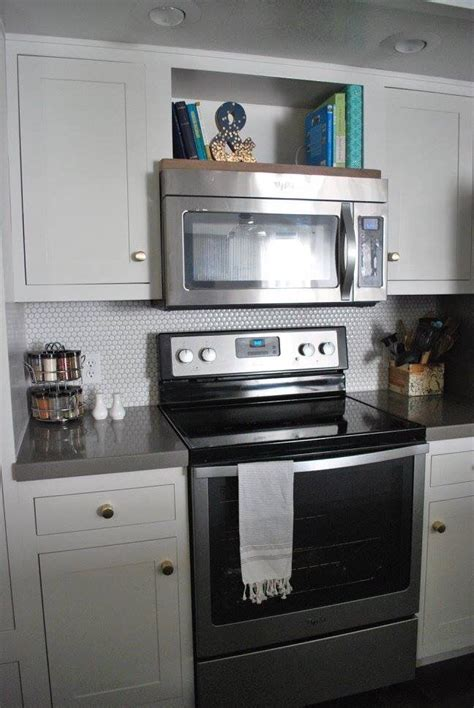 open shelf   microwave  cook books kitchen