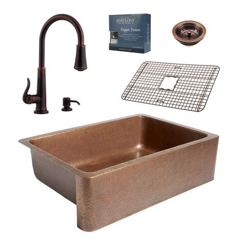 kitchen faucets for farmhouse sinks sinkology pfister all in one 33 in copper farmhouse 8065