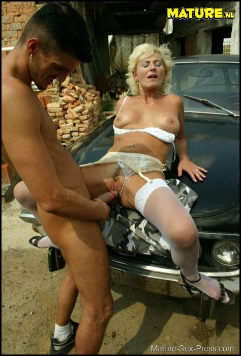 German Blonde Milf In White Lingerie Fucked Outdoor Mature Sex Press