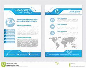 Layout Template Size A4 Front Page And Back Page Blue
