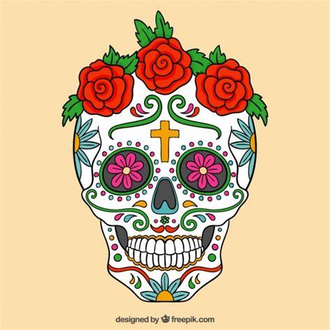 colorful sugar skull colorful sugar skull with roses vector premium