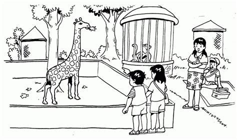 contoh gambar sketsa kebun binatang koleksi gambar terbaru