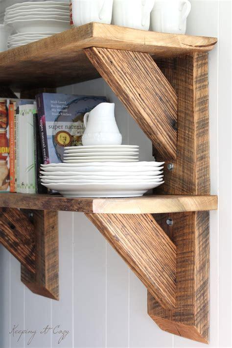 wood shelving keeping it cozy reclaimed wood kitchen shelves