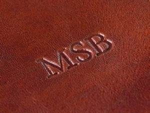 Personalised leather gifts for him and her maxwell scott for Leather embossing letters