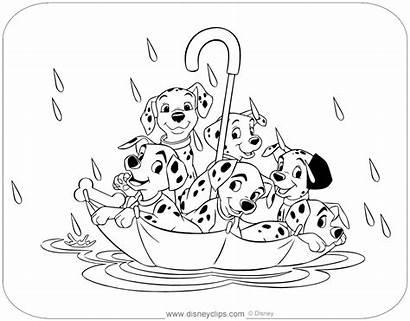 101 Coloring Dalmatians Disneyclips Umbrella Floating Puppies