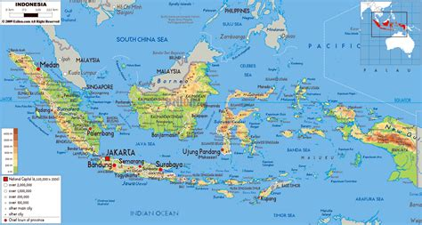 large physical map  indonesia  roads cities