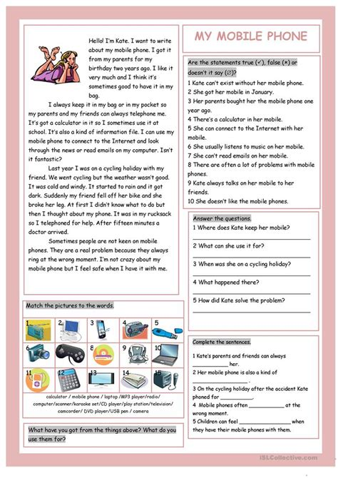 mobile phone teens technical  worksheet