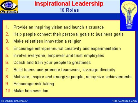 inspirational leadrship  roles   inspiratonal leader