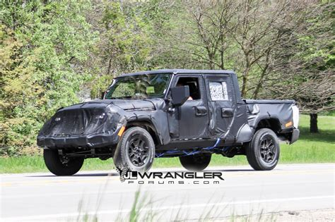 2019 jeep wrangler pickup truck jt wrangler truck testing on public roads shows spare
