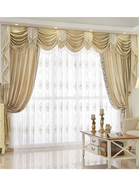 Australian Valances by Twynam Beige And Yellow Waterfall And Swag Valance And