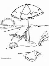 Beach Coloring Pages Sunset Latest Printable Umbrella Getcolorings Umbrell sketch template