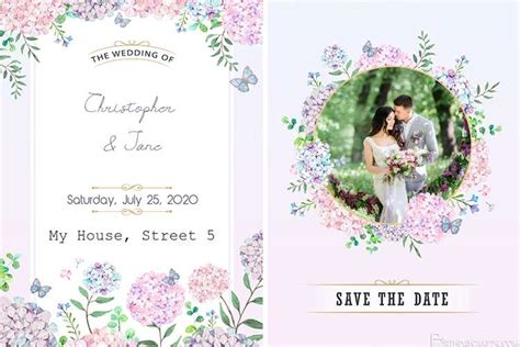 handdrawn floral wedding invitation card  photo edit