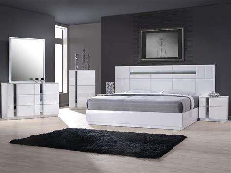 white modern platform bed  lighted headboard
