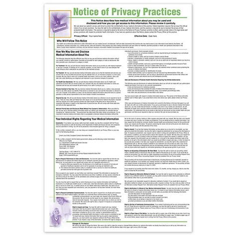notice  privacy practices hipaa poster personalized