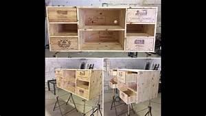 ideco diy mobilier tv tele en bois design avec caisses With meuble en caisse de vin