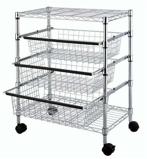 metal storage rack tp 2474 4 tier kitchen sliding wire drawers with storage