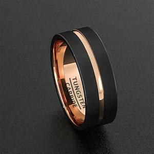 mens wedding band tungsten ring two tone 8mm black brushed With black gold mens wedding rings