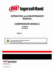 Ingersoll Rand P185 Towable Air Compressor Operator Manual