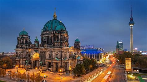 berlin cathedral fernsehturm television tower hd