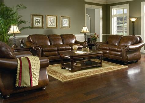 brown leather sofa set for living room with dark hardwood