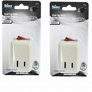 2 Pcs Wall Tap Switch Electrical Plug Outlet On  Off W  Led