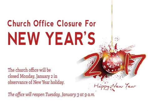 Office Years by Church Office Closed In Observance Of New Year S