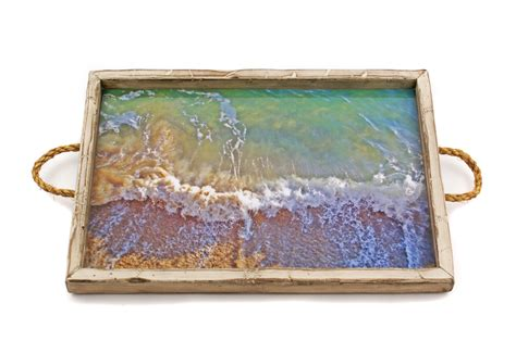 white distressed tray distressed white tray with pacific waves my mez 1025