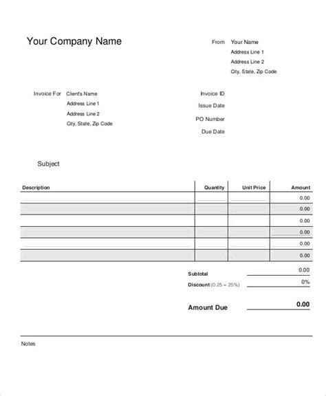 small business invoice template   word  format