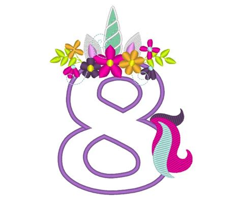 Unicorn Number Eight 8 With Flowers Crown Unicorn Tail