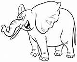 Elephant Coloring Cartoon African Character Animal Vector Premium Illustration Gray Funny Drawings sketch template
