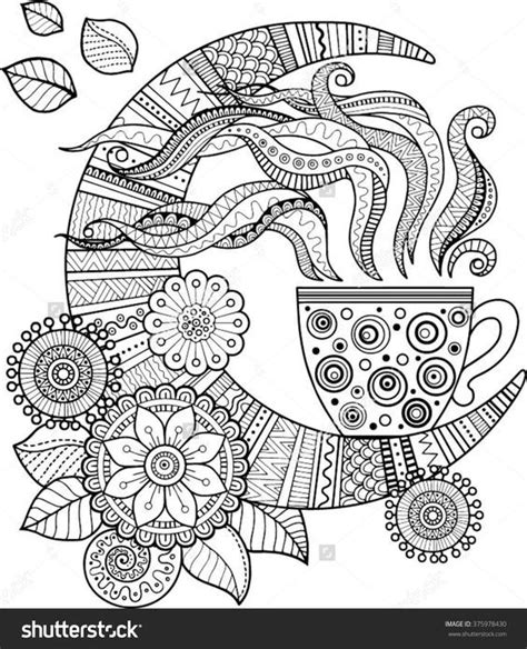 a cup of herbal tea for a good night coloring book for