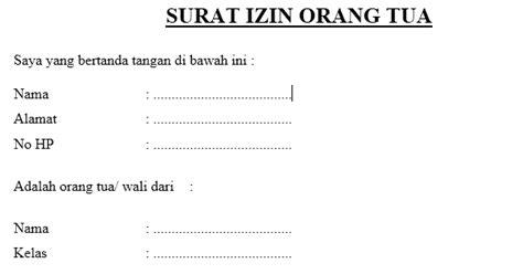contoh surat izin  tua saipul hendra