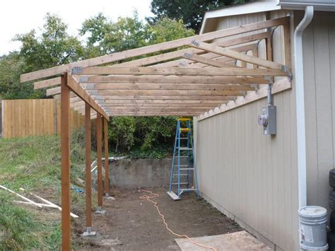 building a carport patio of the garage pictures trusses from the back