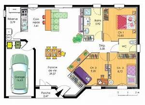 plan de maison plain pied 3 chambres avec garage en l With ordinary plan de maison 100m2 13 habitats modulaires