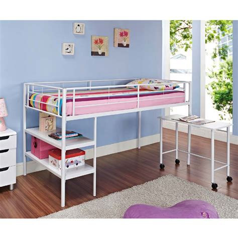 White Low Loft Bed With Desk by Walker Edison Metal Low Loft Bed With Desk And