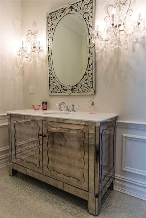 antiqued mirrored vanity contemporary bathroom