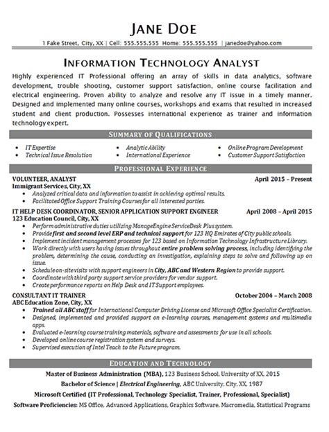 Help Desk Support Resume Template by It Help Desk Resume Exle Technical Analyst It Support