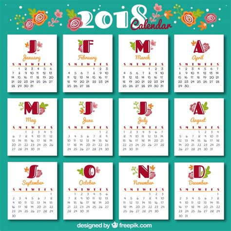 Calendar Month Template Hand by Vintage 2018 Calendar Template Vector Free Download