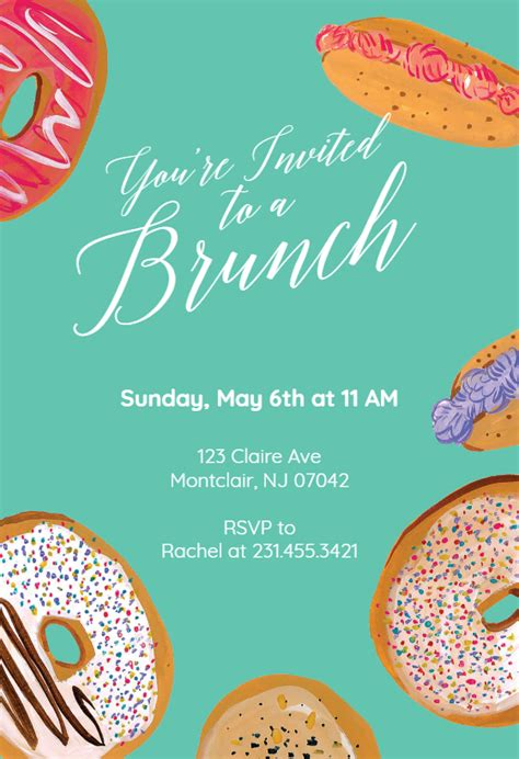 doughnuts  brunch lunch invitation template